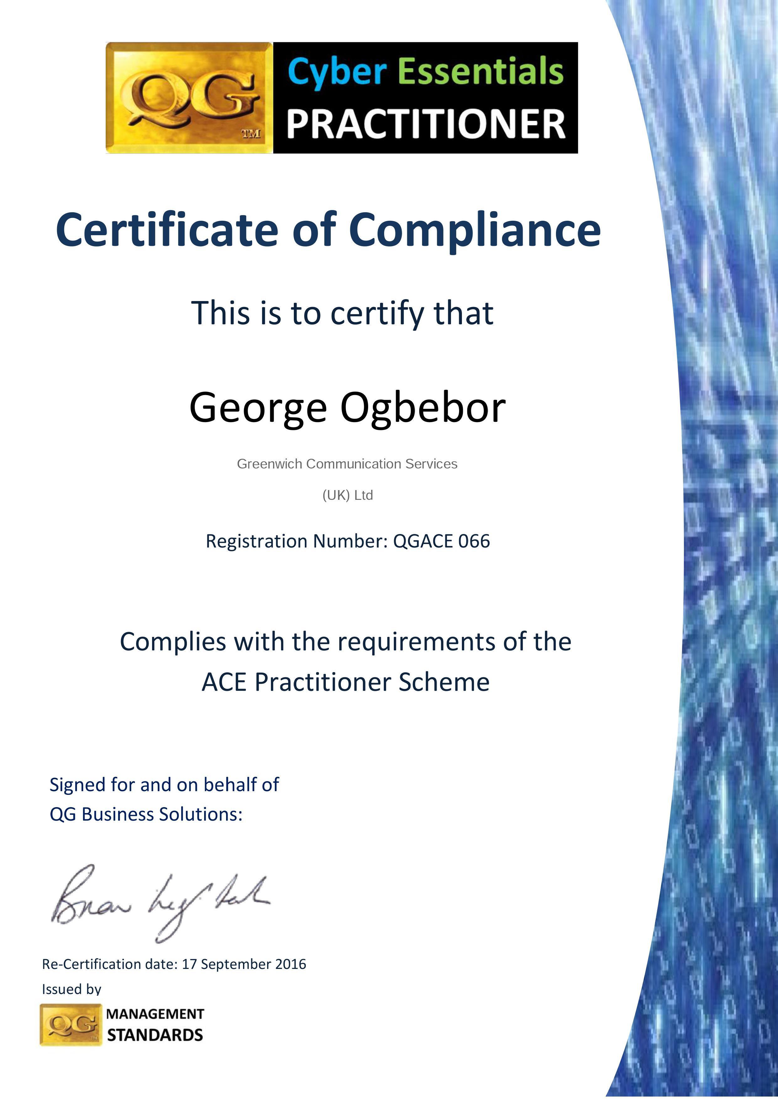 QGACE066 15 16 cert George