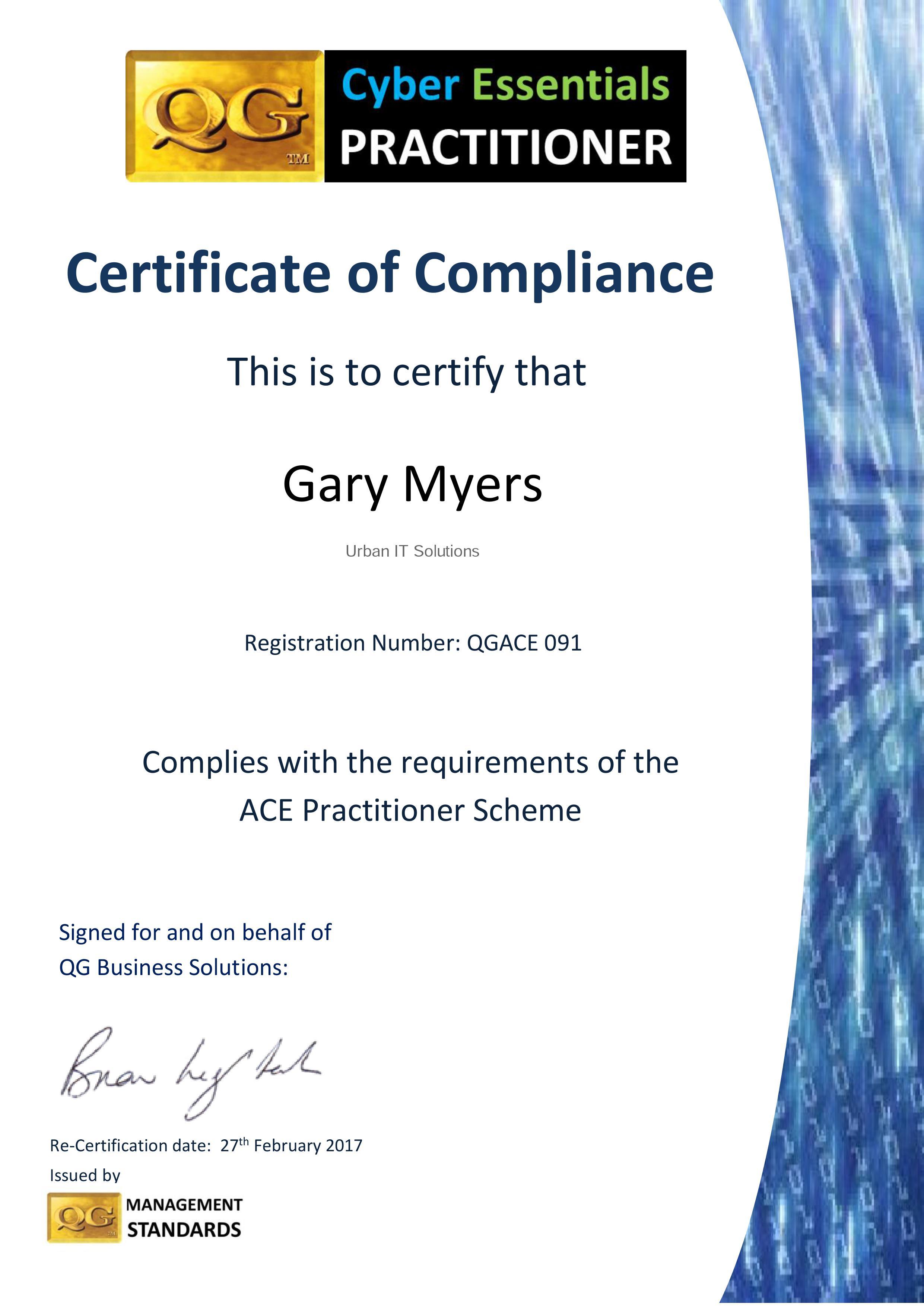 QGACE091 16 17 cert Gary Myers