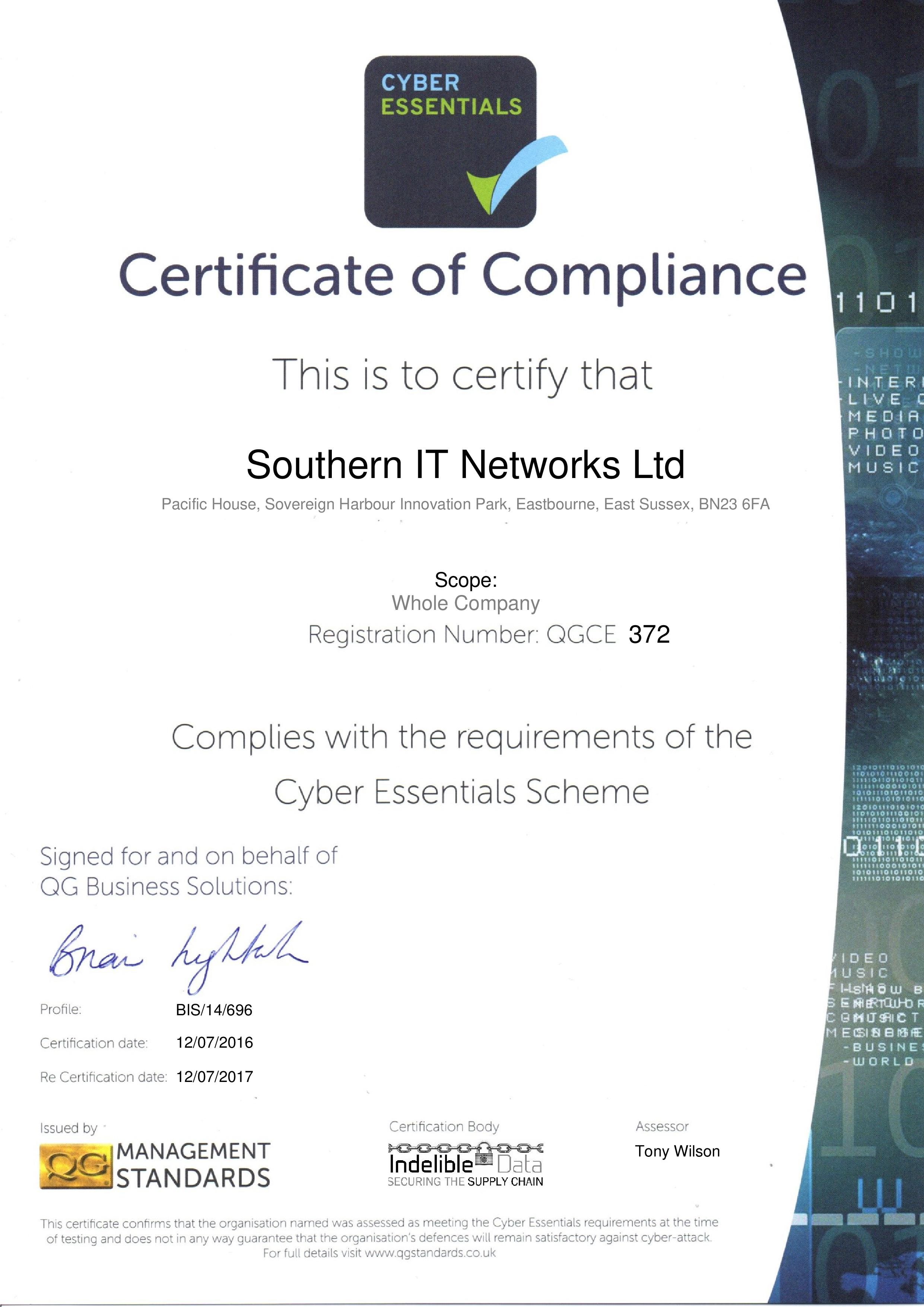 Cyber essentials certification southern it networks cyber essentials certificate of compliance which is valid for one year 1betcityfo Image collections
