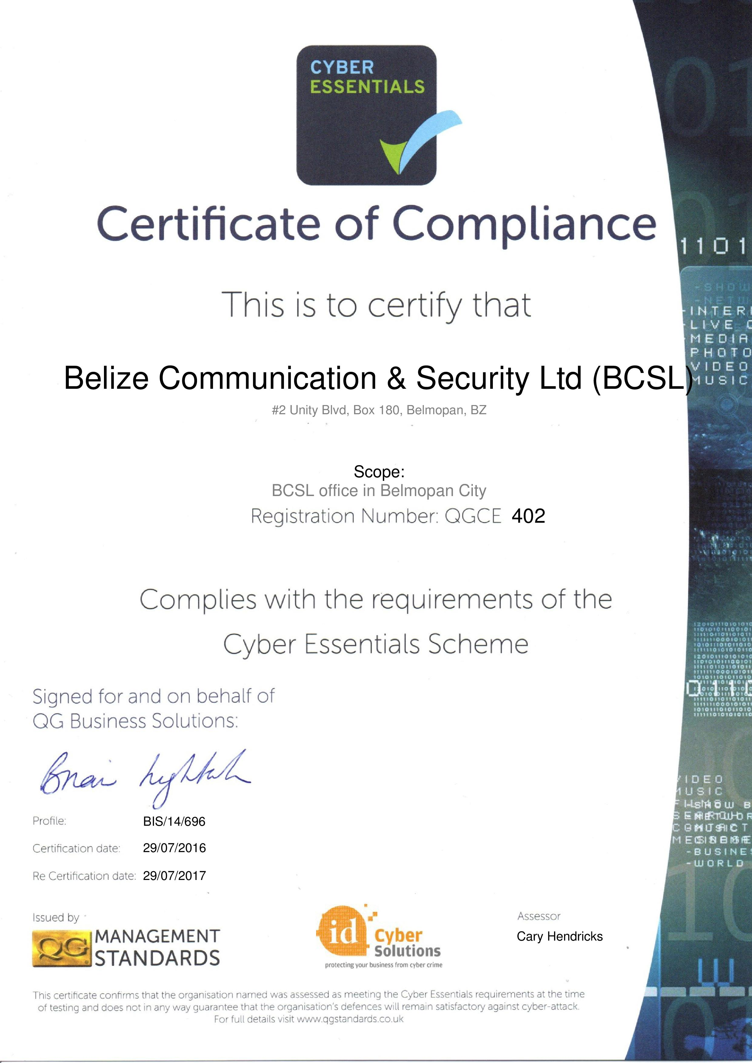 QGCE402 Belize Communication & Security Ltd (BCSL)
