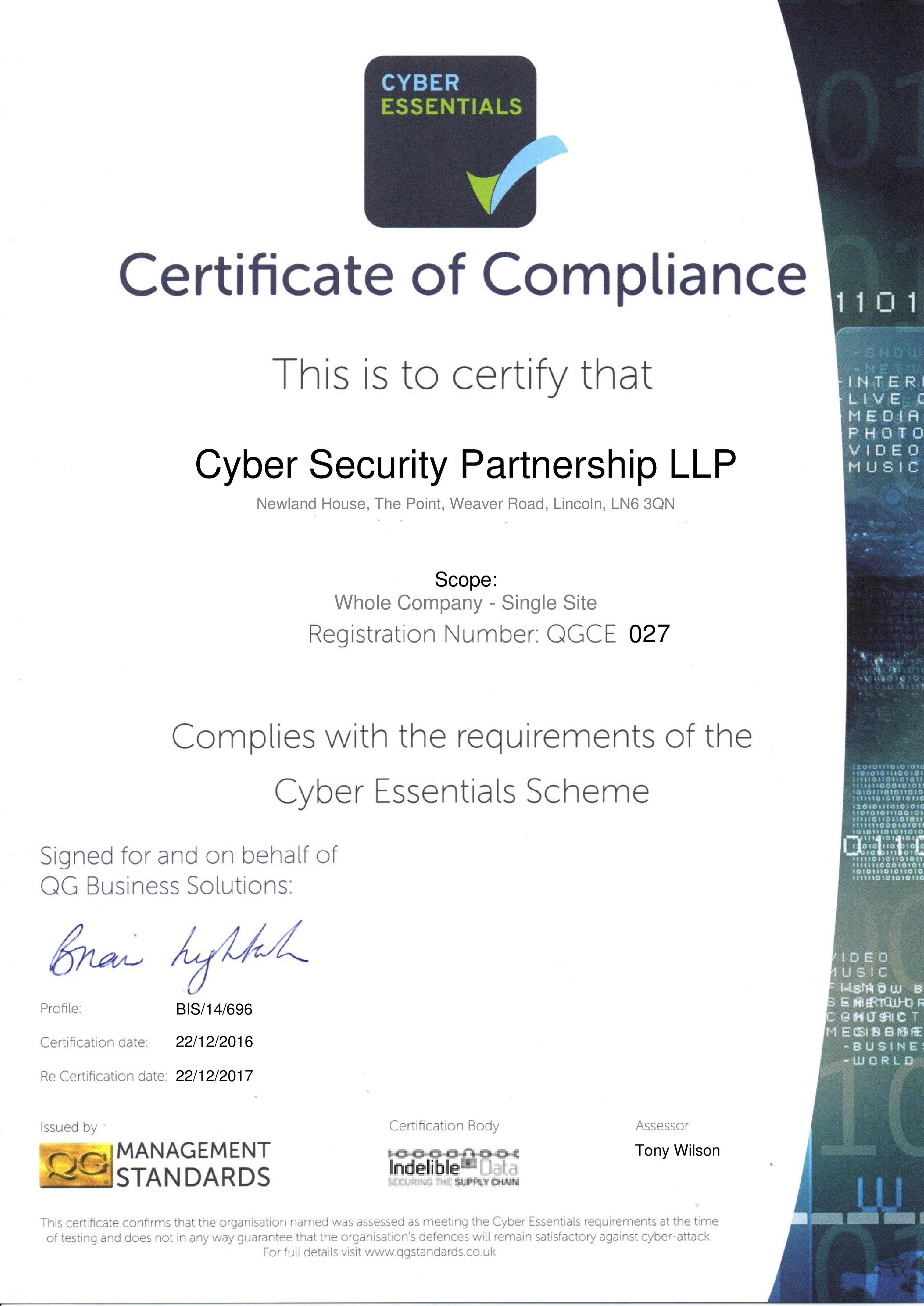 QGCE027 Cyber Security Partnership LLP