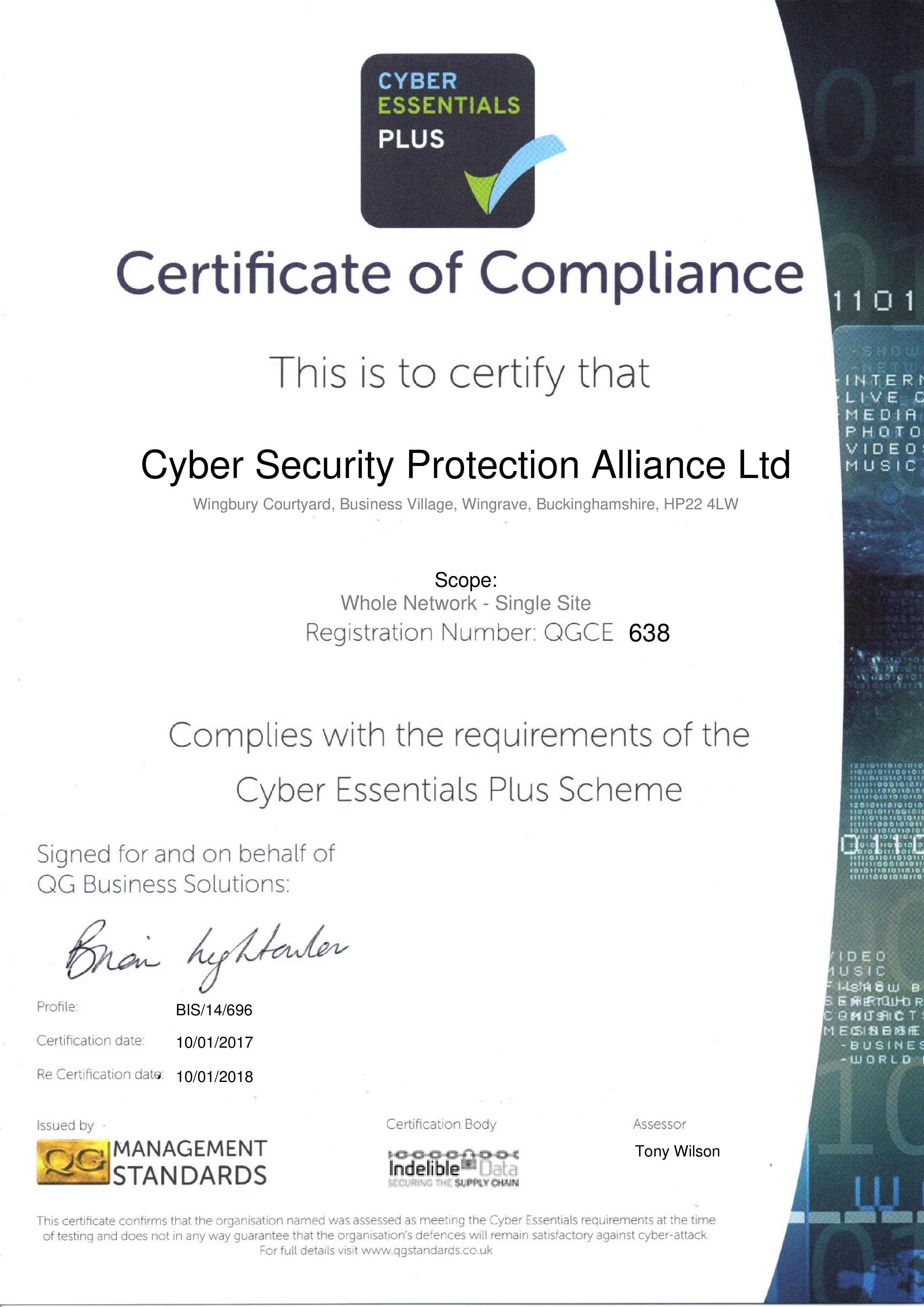 QGCE638 Cyber Security Protection Alliance Ltd