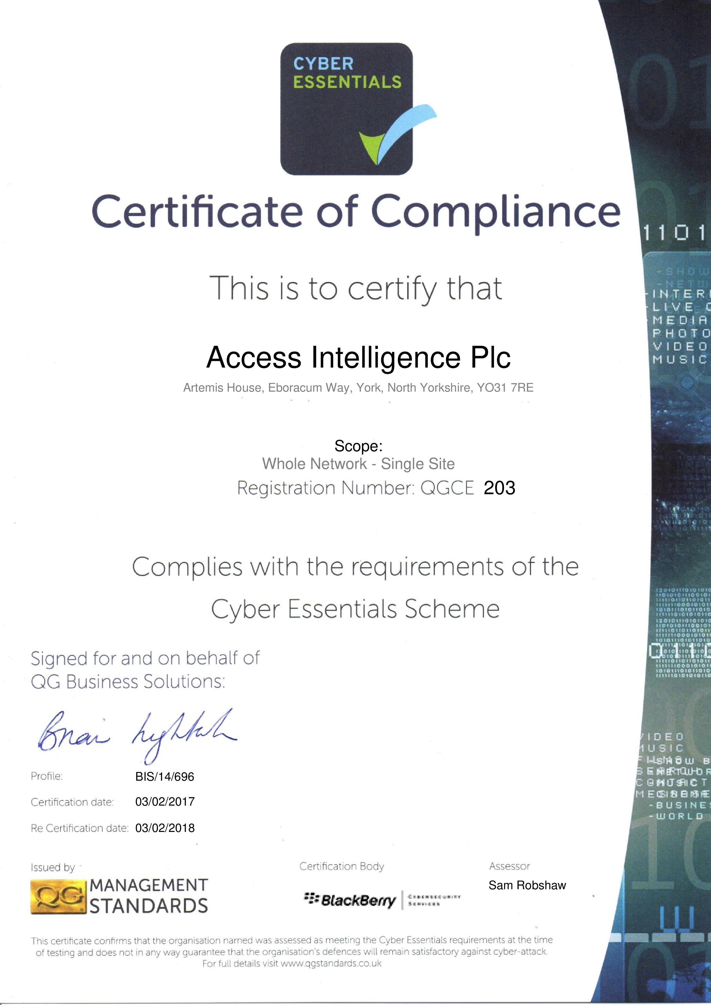 QGCE203 Access Intelligence Plc