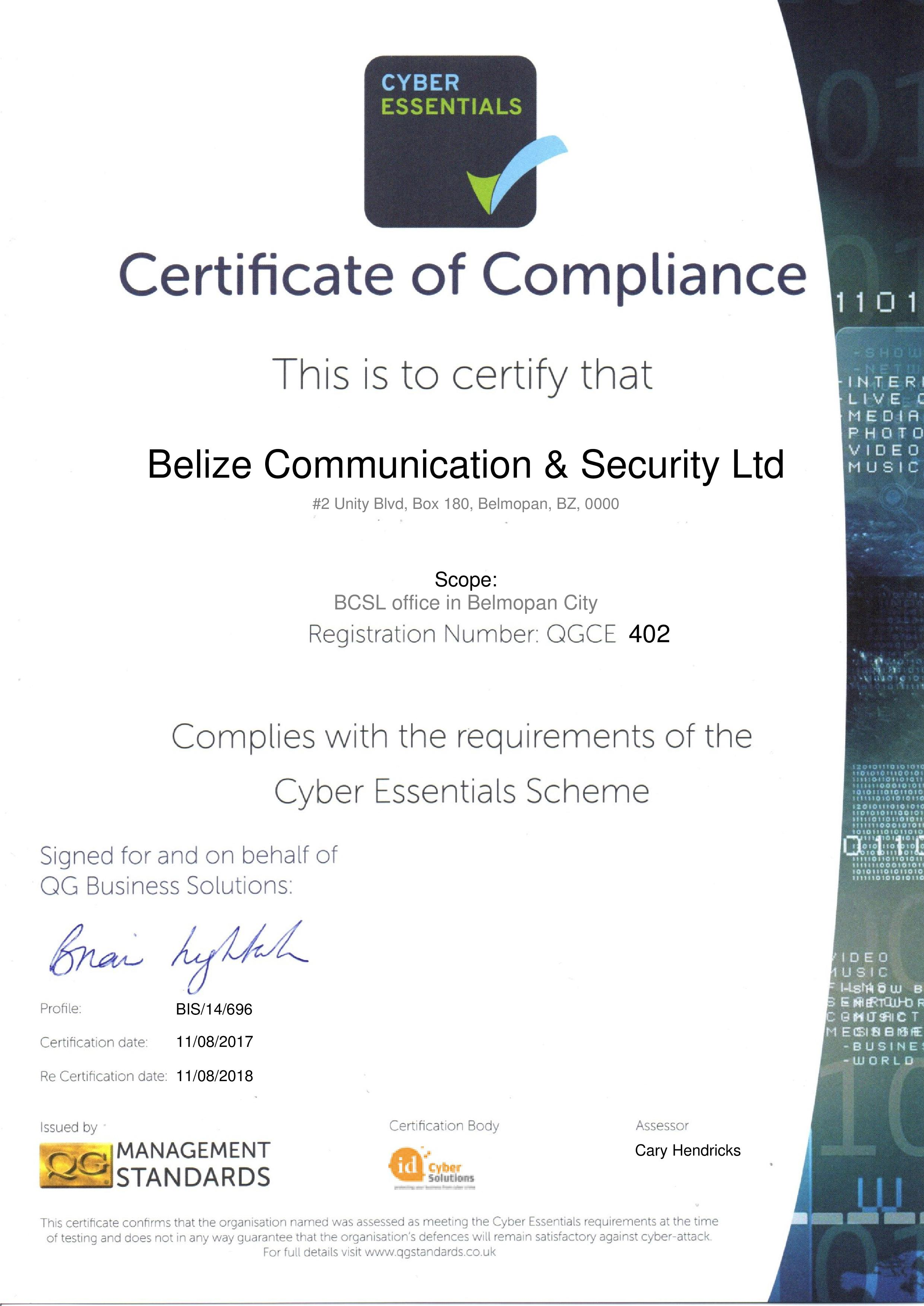 QGCE402 Belize Communication & Security Ltd