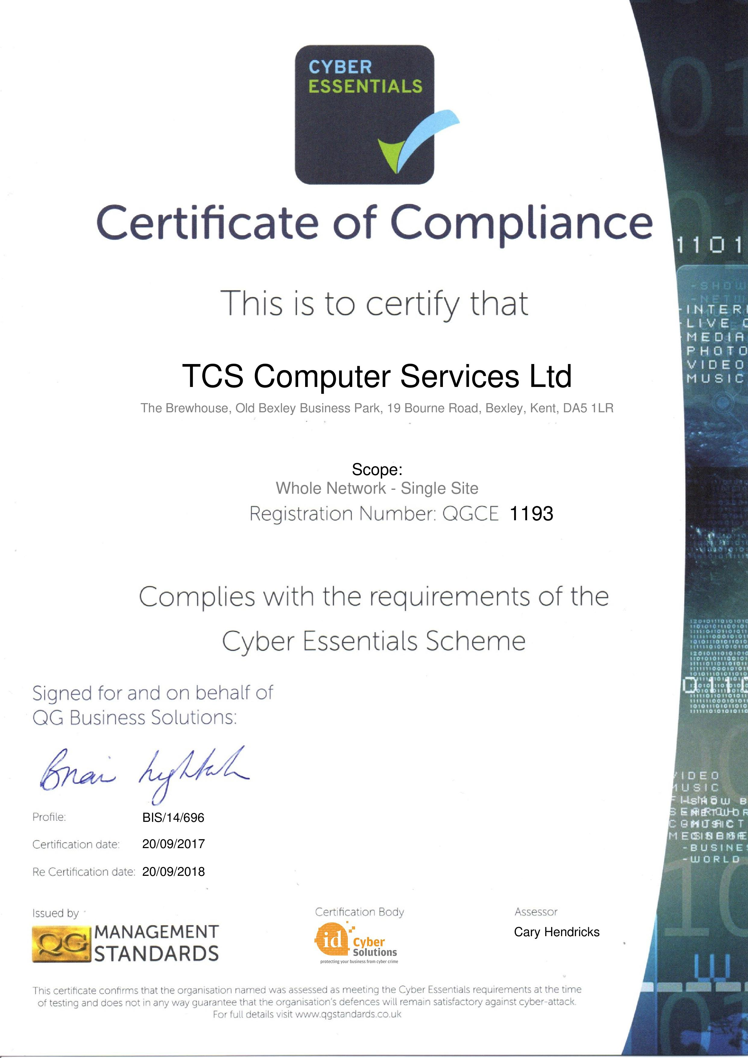 QGCE1193 TCS Computer Services Ltd