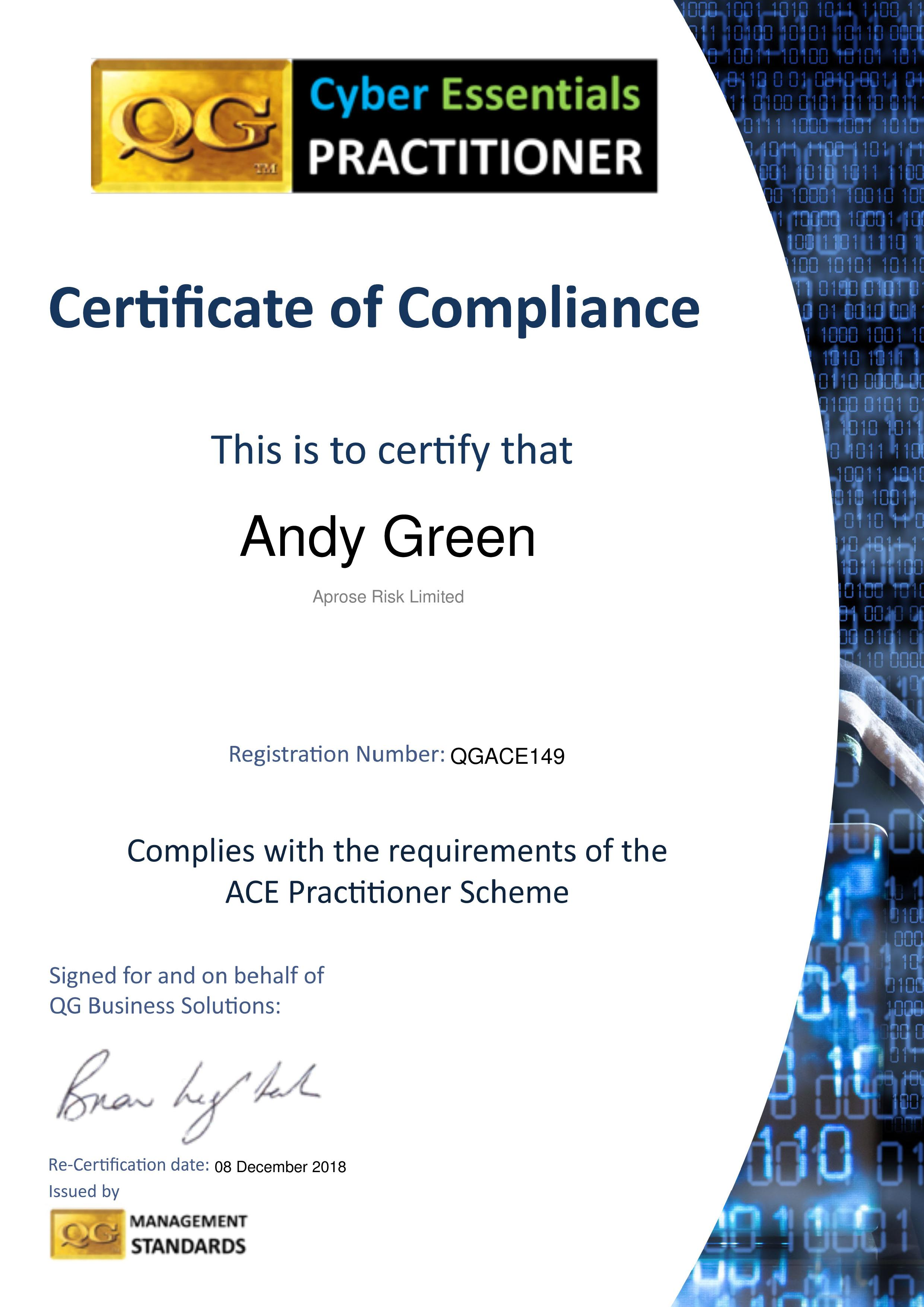 QGACE149 Aprose Risk Limited