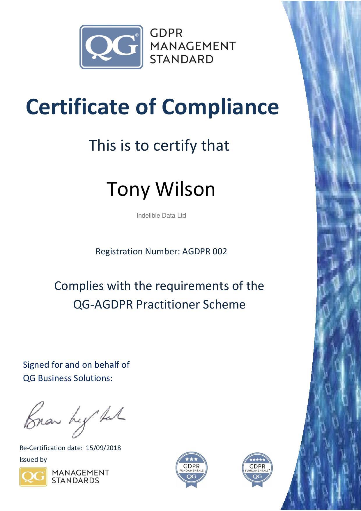 Agdpr002 Tony Wilson Page 001 Qg Management Standardsqg Management
