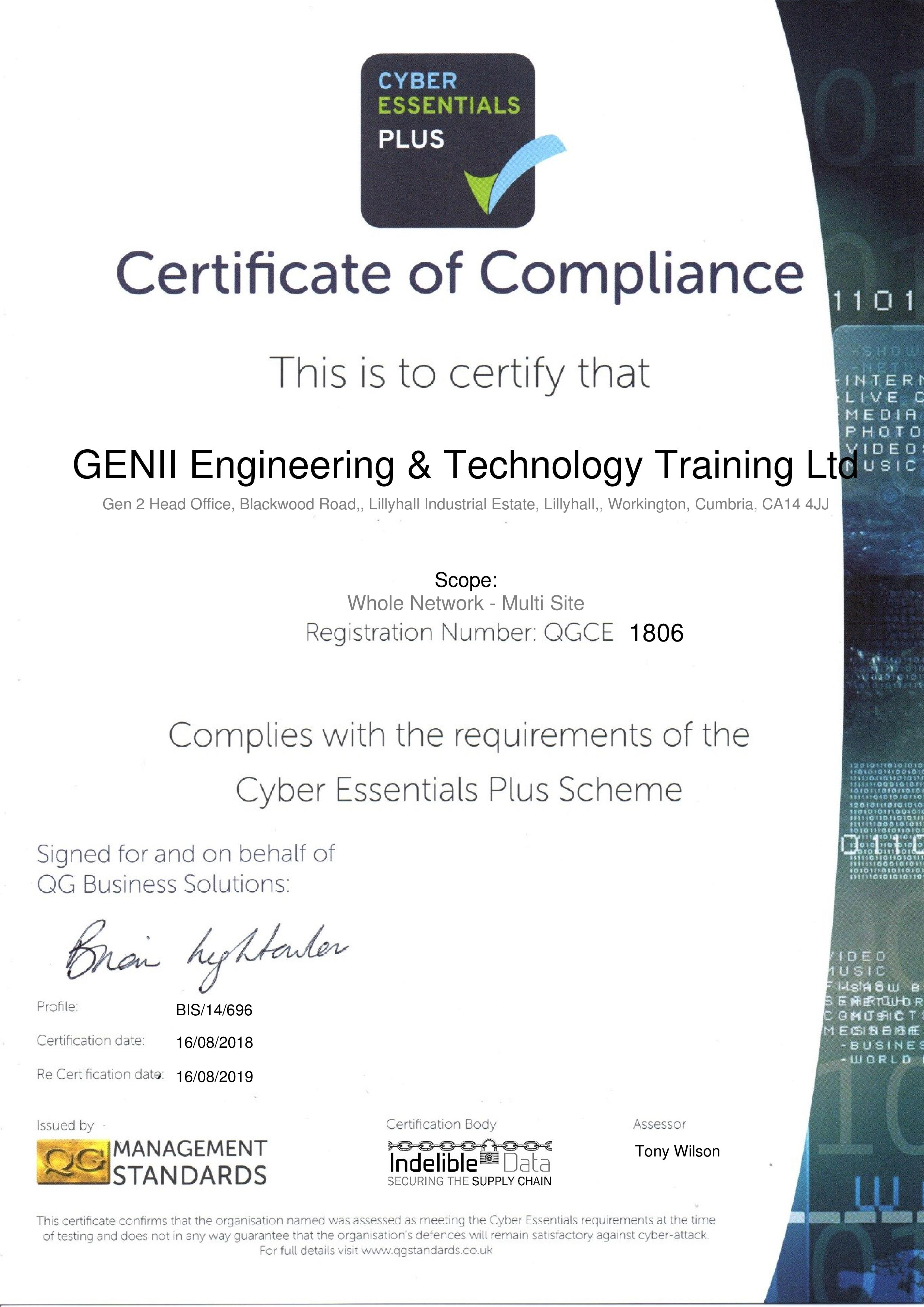 QGCE1806 GENII Engineering & Technology Training Ltd