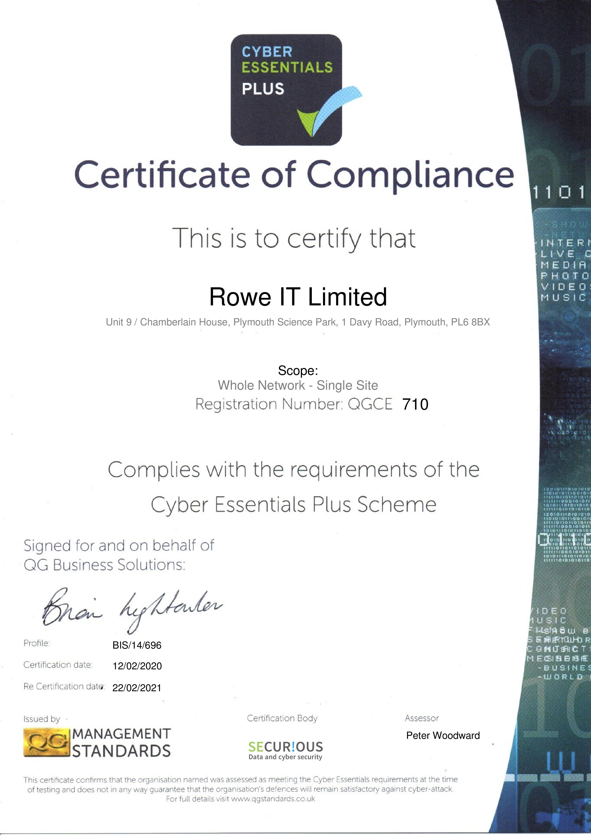 QGCE710 Rowe IT Limited