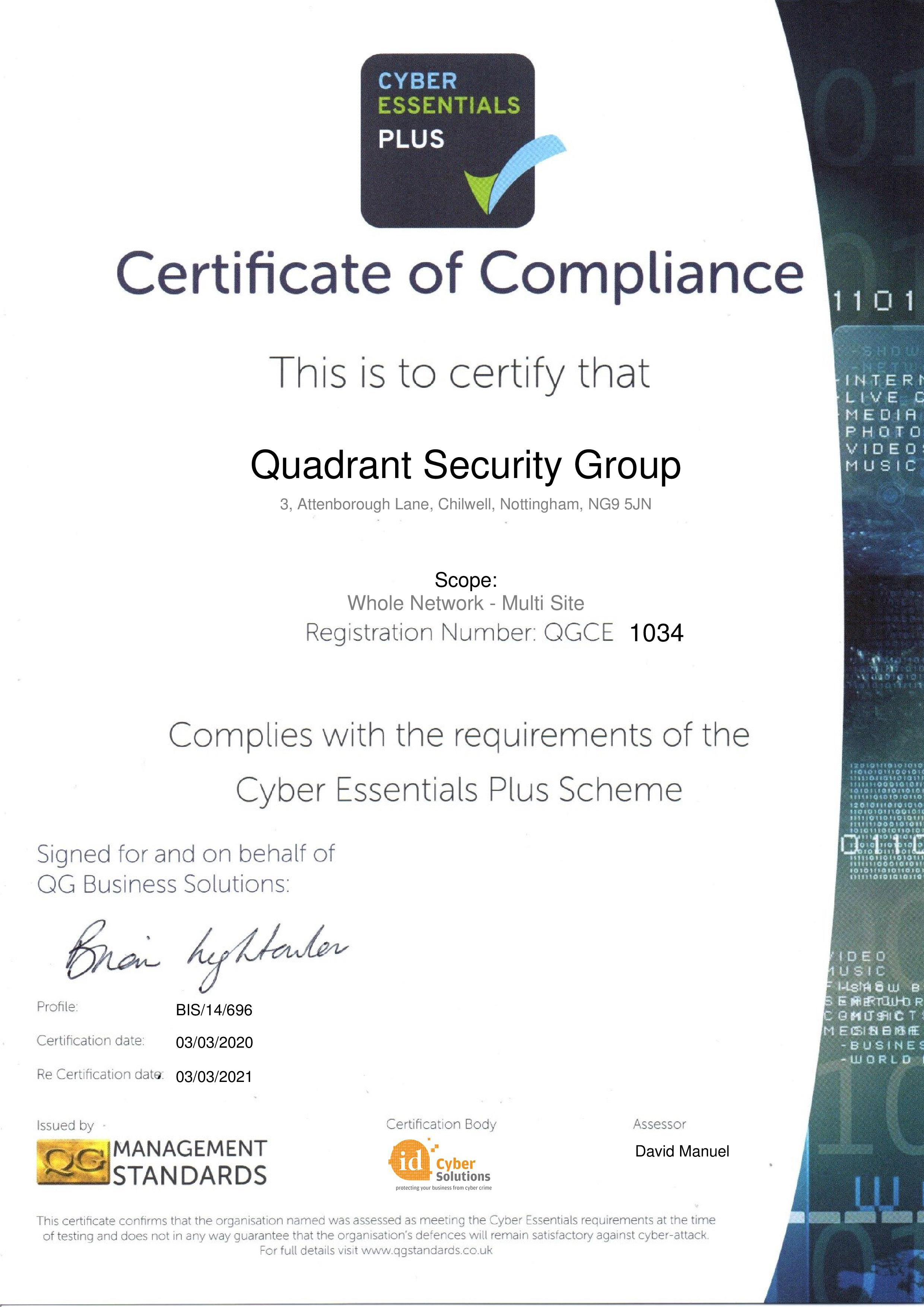 QGCE1034 Quadrant Security Group