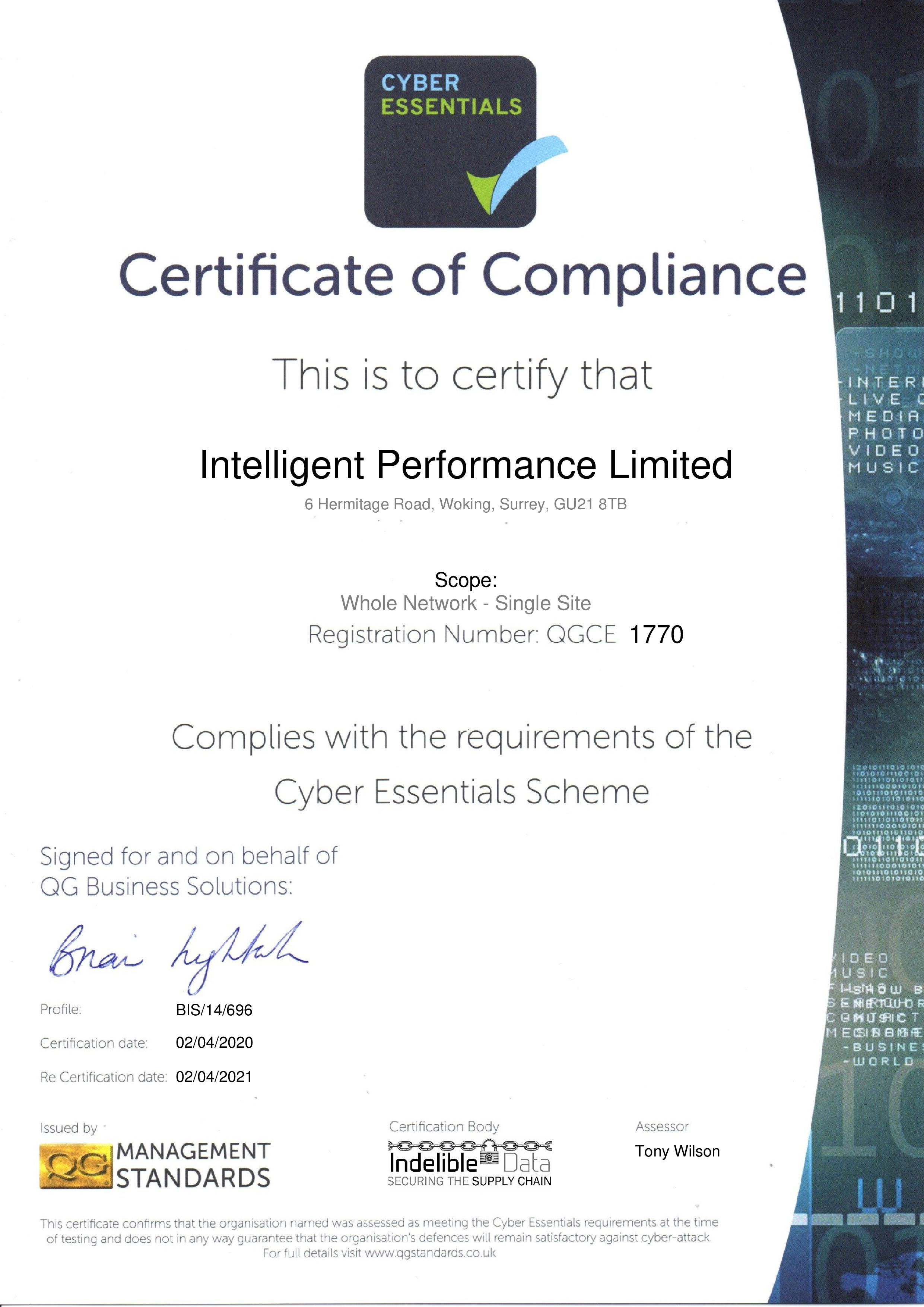 QGCE1770 Intelligent Performance Limited