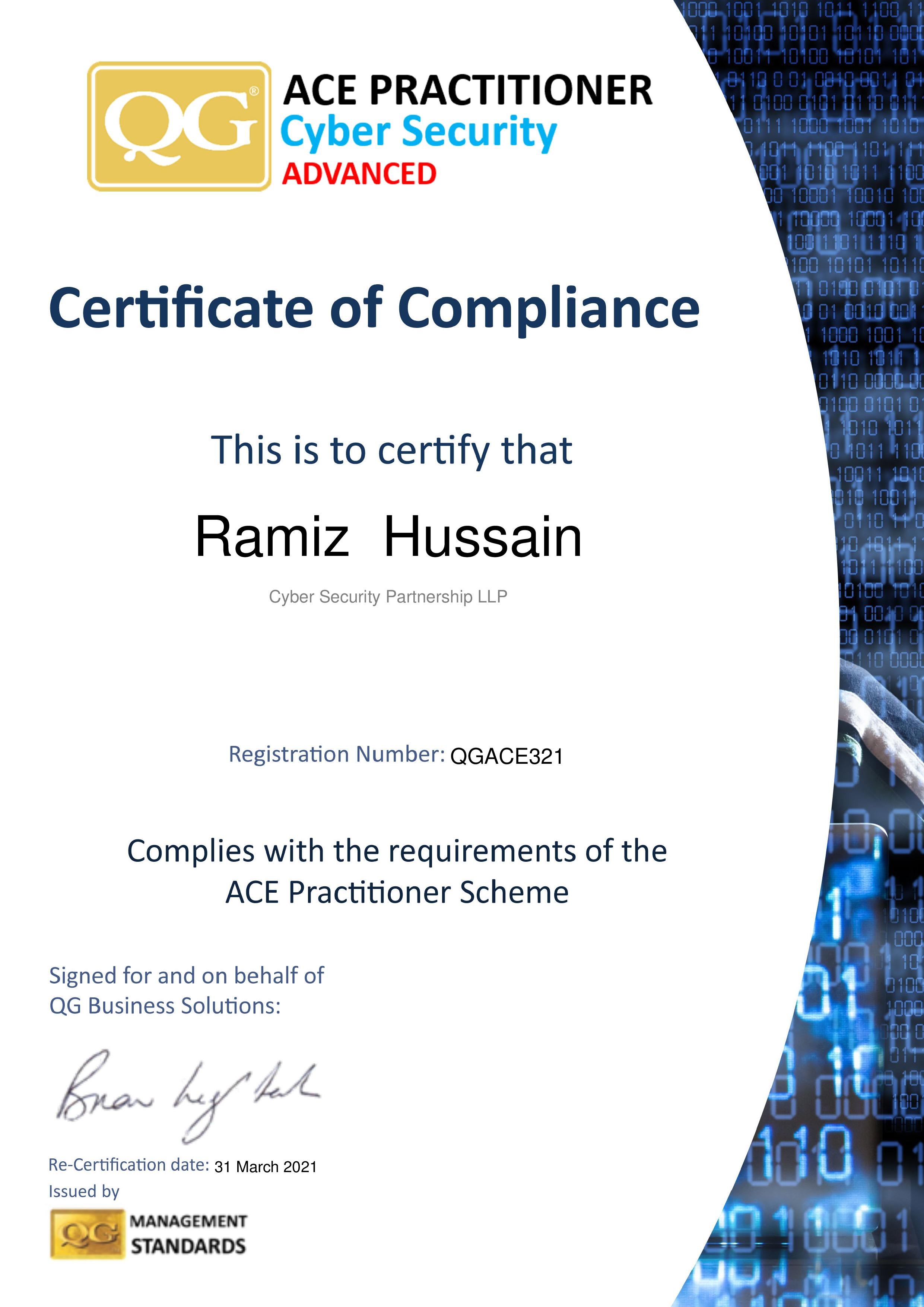 QGACE321 Cyber Security Partnership LLP